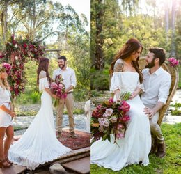 Wholesale Romantic Country - 2018 Forest Beach Chiffon Lace Appliques off Shoulder Count Train Wedding Dresses Bohemian Romantic Country Boho Bridal Gowns