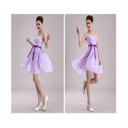 Wholesale Strip Chiffon - New Style Strip Chiffon A Line Sweetheart Pleated Bridesmaid Dress Cheap Prom Evening Party Dress Wedding Party Guests Wear