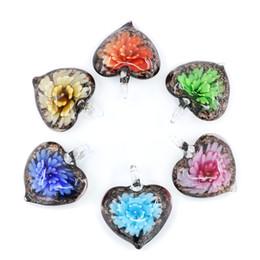 Wholesale Heart Shaped Glass Pendants - Mix Color Lampwork Glod Sand Pendants Heart Shape Glass Pendants made by hand for Decoration 12pcs pack MC0078