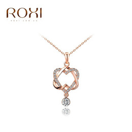Wholesale Crystal Double Rose Necklace - ROXI New Fashion Jewelry Rose Gold Color Statement Double Heart Twining Necklace For Women Party Wedding