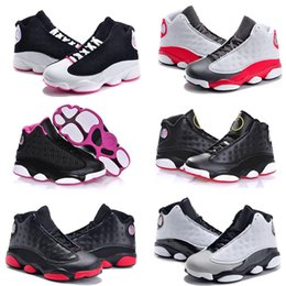 Wholesale A3 Fashion - Air Retro 13 Grey Pink Black White Kids Basketball Shoes Childrens Sports Shoes 13s Sneakers Cheap Kids Shoes fashion trainer for boys girls