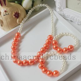 Wholesale Necklace Chunky Bead - Wholesale Baby Girl Toddlers Chunky Pearl Bead Necklace Children Child Party Jewelry Imitation Pearls Princess Photo Prop
