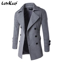 Wholesale Wool Trench Coats For Men - Wholesale- 2016 Letskeep NEW Men's Spring Autumn Overcoat for man wool & blends double breasted peacoat trench coat men Slim fit,ZA193