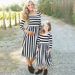 Wholesale Dresses For Mother Kids - Kids girl Dress Mother daughter dresses Black white Striped dresses for women Big Sweep Family Matching Clothing 2017 Spring Fall winter