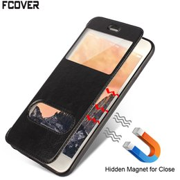 Cassa della finestra di iphone 5s online-Smart Front Dual Magnetic Window View Book Stand Custodia in pelle per iphone 5 5s SE 6 6s Plus 7 Plus 8 Plus XR iphone XS Max Smart Cover