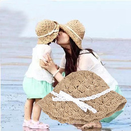 Wholesale Fold Straw Hats - Summer Silk Ribbon Baby Girls Straw Sun Hats Kids Floppy Beach Hat Children Collapsible folding sun hat free fast shipping in stock