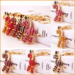Caballos de imitación llaveros online-Pink Red Gold Zebra Horse KeyChain, moda Rhinestone Crystal monedero bolso llavero, mujeres Girl Gift original hecho a mano Souvenir