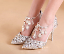 Wholesale Womens Plus Size Wedding Dresses - Womens Chic Wedding Diamond Ankle Belt Rhinestones Crystal Shoes Bling Party High heel Pumps Stilettos Plus Size MYR8027