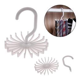 Wholesale Neckties Hangers - Rotating Tie Rack Tie Hanger Holds 20 Hook Clost Clothing Accessory Hanging Necktie Belt Organizer Rack Muffler Hanger Storage Hook KKA2263