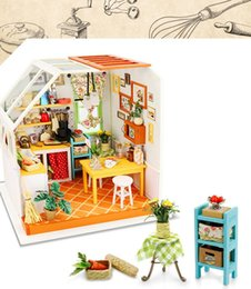 Wholesale Wooden Doll Kitchen - Diy Doll House Miniature Wooden Building Model Creative Handmade Jason's Delicious Kitchen Furniture Model Toys of houses For Children
