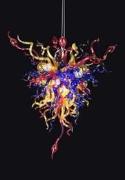 2019 многоцветный подвесной светильник Праздничная вечеринка рука Дунутая Привесной свет выдувное стекло Multi покрашенный художнический цепной канделябр с шариками Сид дешево многоцветный подвесной светильник