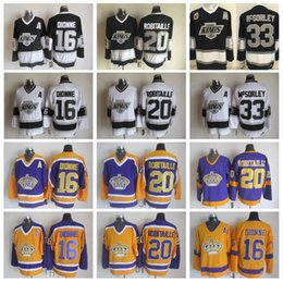 Argentina Hombres 16 Marcel Dionne Jerseys Los Angeles Kings Hockey 20 Luc Robitaille 33 Marty McSorley Vintage CCM Negro Blanco Amarillo Púrpura cheap robitaille jersey Suministro