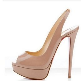 Wholesale Peep Toe Stiletto Sandal - Nude Color Fish Mouth 14cm Red Bottom High Heels ,Women Luxury Brand Black Patent Leather Platform Peep-toes Sandals ,Shiny Leather Shoes