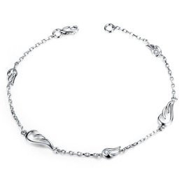 Wholesale Infinity Doves - Women Fashion 925 Sterling Silver Infinity Angel Wings Jewelry Dove Peace Bracelet(Color:white. Size:7.67inch)