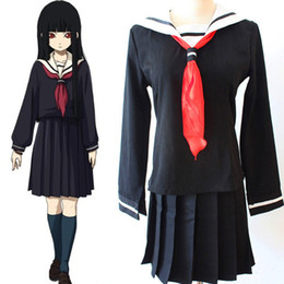Wholesale Sailor Girl Cosplay - Enma Ai cosplay costumes Sailor suit Japanese anime Hell Girl clothing Halloween Masquerade Mardi Gras Carnival costumes full set