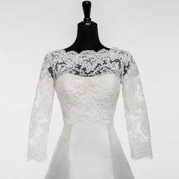 Best Seller Giacca da sposa con maniche 2019 Boat Neck Appliqued Lace Bridal Jacket Bolero 3/4 Sleeves Buttons Back Custom Made da