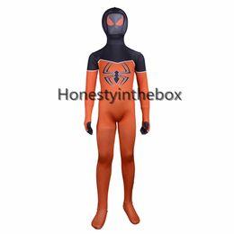 Wholesale Child Catsuit - Children Orange And Black Lycra Spandex Full Body Catsuit Superhero Spider-man Cosplay Costume For Halloween