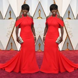 Wholesale Celebrity Oscar Evening Gown - 2017 Oscar Celebrity Evening Gowns Plus Size Halter Satin Off Shoulder Prom Dresses Sweep Train Black Women Formal Party Dress Custom Made