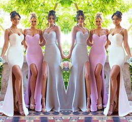 Wholesale Stretch Dresses Sale - Hot Sale Spaghetti Strap 2018 Bridesmaid Dresses High Side Split Sweep Train Stretch Satin Simple Style Maid Of Honor Dresses