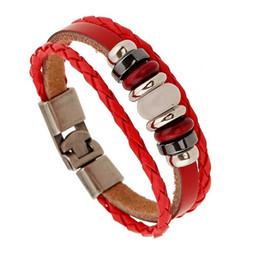 Wholesale Cuff Leather Bracelet Stones - Wholesale- cuff bracelet Handmade Jewelry Men Women Braided Leather bracelets Red Stone Charm Bracelet Bangles Summer bangle for women
