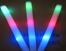 Wholesale Led Colorful Rods Foam - 20pcs LED Colorful rods led foam stick flashing foam stick, light cheering glow foam stick concert Light sticks EMS