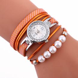 Wholesale Wholesale Bead Strap Bracelets - 2017 women fashion bead line long straps leather rope bracelet watch wholesale new casual retro ladies dress party quartz watch