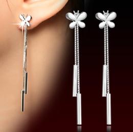 Wholesale Kids Butterfly Earrings - Womens silver plated drop earrings Fashion cute Butterfly Tassel dangle Earrings Gift for School Girls Kids Lady