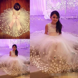 Wholesale Handmade Communion Dresses - Princess Cute Flower Girl Dresses For Weddings Big Bow Tiered Tulle Birthday First Communion Dress Handmade Appliques Girls Pageant Dress