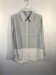 Wholesale Women Woven Shirts - women real 100% silk woven shirts blouses stripe print cdc fabric sandwash long sleeve black market garment factory wholesale drop shipment