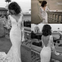 vintage fishtail wedding dresses Promo Codes - Liz Martinez Vintage Lace Long Sleeve Mermaid Wedding Dresses 2017 Modest V-neck Backless Street Style Fishtail Cheap Bridal Gowns