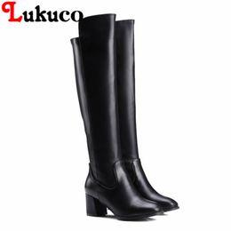 Wholesale Size 47 Ladies Shoes - NEW European PLUS size 43 44 45 46 47 48 Lukuco elegant women knee-high boots square heel zip design lady shoes free shipping