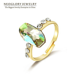 Wholesale Gold Engagement Rings Swarovski - Gold Plated MADE WITH SWAROVSKI ELEMENTS Big Crystal Adjustable Rings For Women Neoglory Wedding Jewelry Accessories 2017 New Birthday Gift