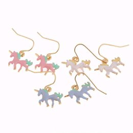 Wholesale Fantasy Studs - Hot sales New arrival Trendy Exquisite Beautiful Fantasy Colour Unicorn Animal Earrings for women Christmas jewelry