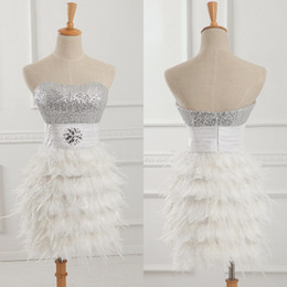 Wholesale Strapless Feather Cocktail Dresses - Real Photos Short Gold Feather Fur Cocktail Dresses Ball Gown Strapless Sequined Ruched Crystal Party Sexy Mini Club Wear Quality Prom Gowns
