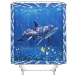 dolphin curtains Promo Codes - Wholesale- High Quality Polyester Mildew Waterproof Blue Bath Curtain 3D Dolphin Seascape Digital Printed Shower Curtain Bathroom Decor