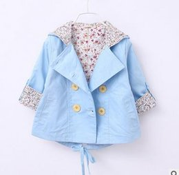 Wholesale Baby Leopard Jacket - Baby girls princess overcoats toddler kids Leopard collar Hoodies Cardigan coat kids button front pocket windbreaker 2017 new clothes G0318
