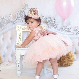 Wholesale Toddler Big Tutu - Baby tutu Dress lace big sequin bowknot Newborn Dresses Girls Princess Dresses Formal Pageant Party Dress Toddler Clothes Kids Clothing A563
