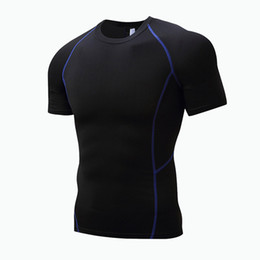 Wholesale Tight Sleeve Mens T Shirts - 2017 New Bodybuilding Fitness Gyms Clothing Mens Short Sleeve T Shirt Elasticity Gyms Compression Tops Tight Tee S-XXXL