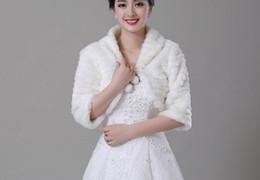 Wholesale Red Leather Jacket For Women - Free shipping In Stock Warm Faux Fur Bridal Shawl Winter Cloak Women Boleros Para Novias Wedding Wraps Jackets For Sale Cape Mariage