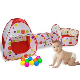 Wholesale Baby Toy Tents - 3 in 1 Baby Pop-up Play Tents ChildrenTunnel Kids Play House Baby Ocean Ball Pool Outdoor Fun Toy Tents Pool-Tube-Teepee