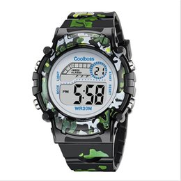 Wholesale Electronic Children Silicone Watch - Children Kids Sport Watch Electronic Digital Led Wristwatches Boy Girl Unisex Camouflage Military Watches Water Resistant Gift Watch