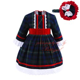 Wholesale England Clothing Styles - Pettigirl England Style Boutique Girls Vintage Plaid Dress With Headbands Children Ruched Lace Autumn Wear Baby A-Line Clothes G-DMGD908-913