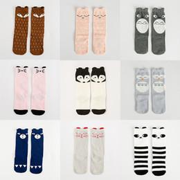 Wholesale Baby High Pads - Unisex cartoon Animal leg warmers baby girls & boys knee high Totoro Panda Fox socks kids cute Striped Knee Pad sock 0601302