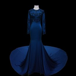 Wholesale Luxury Ladies Dress Prom - Fancy Blue Mermaid Evening Dresses Long Sleeve Amazing Long Train Ceremony Prom Dresses Lady Luxury Muslim Special Occasion Dress