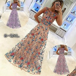 Wholesale Dress Evening Night Party - Floral Printed Long Prom Dresses Evening Dresses Sleeveless Sexy Elegant Chiffon Party Dresses Prom Maxi Dress