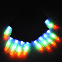 Wholesale Latex Free Gloves Wholesale - Rave Gloves Mitts Flashing Finger Lighting Glove LED Colorful 7 Colors Light Show Black and White Wholesale 3011001