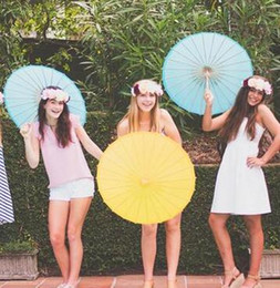 "Wholesale White Bamboo Parasols - 33"" Wedding Umbrella DIY Painting Umbrella Hand Made Bamboo Traditional Classical Oil Paper Parasol Wedding Favor Lovely 7colors"