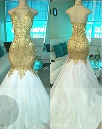 Wholesale Event Gowns Long - Sexy Gold Beading Sequined Prom Party Dresses 2017 Mermaid V-neck Open Back Long Evening Pageant Gowns Formal Event Wear