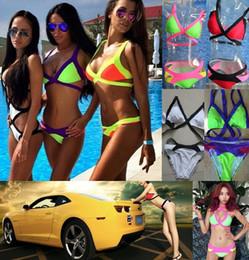 Wholesale Tankinis For Girls - Fashion Summer Triangle Push Up 6 Colors bandage style tankinis Swimsuit Bikinis Sets Swimwear For Sexy Women Girl Bathing Suit S-L