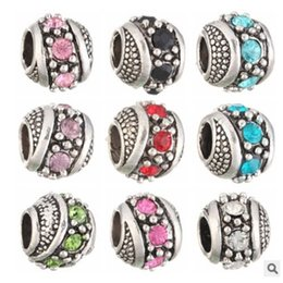 Wholesale Spacer Beads Fit European Bracelet - Wholesale Fits Pandora Charm Bracelet Spacer Beads Multicolour Unique Crystal Silver Beads Loose Charms For Diy European Snake Charm Chain